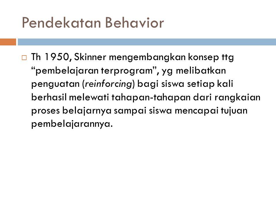 """Pendekatan Behavior  Th 1950, Skinner mengembangkan konsep ttg """"pembelajaran terprogram"""", yg melibatkan penguatan (reinforcing) bagi siswa setiap kal"""