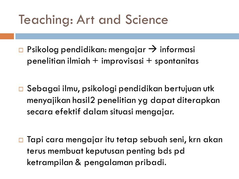 Teaching: Art and Science  Psikolog pendidikan: mengajar  informasi penelitian ilmiah + improvisasi + spontanitas  Sebagai ilmu, psikologi pendidik