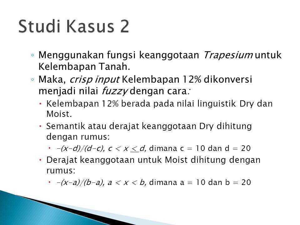 ◦ Menggunakan fungsi keanggotaan Trapesium untuk Kelembapan Tanah. ◦ Maka, crisp input Kelembapan 12% dikonversi menjadi nilai fuzzy dengan cara:  Ke