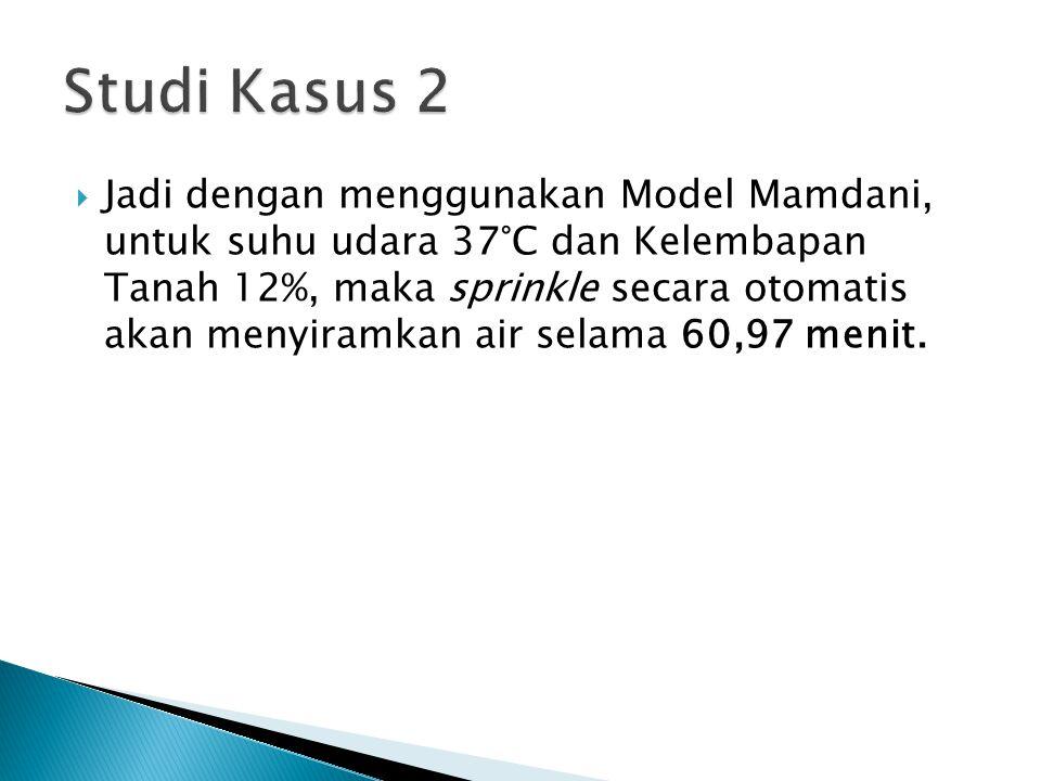  Jadi dengan menggunakan Model Mamdani, untuk suhu udara 37°C dan Kelembapan Tanah 12%, maka sprinkle secara otomatis akan menyiramkan air selama 60,