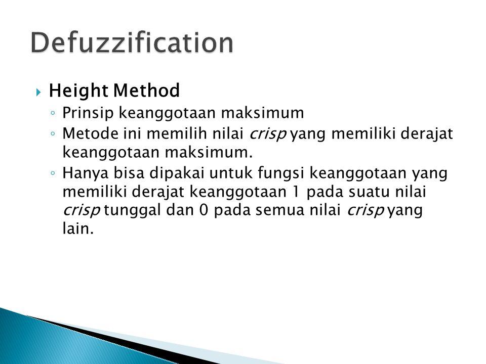  Height Method ◦ Prinsip keanggotaan maksimum ◦ Metode ini memilih nilai crisp yang memiliki derajat keanggotaan maksimum. ◦ Hanya bisa dipakai untuk