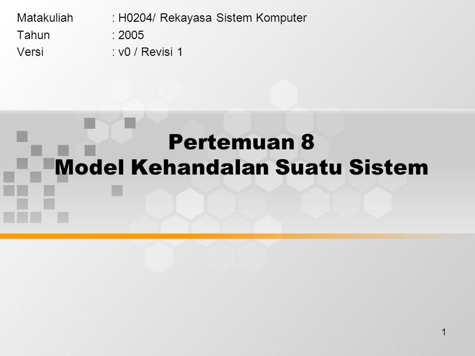 1 Pertemuan 8 Model Kehandalan Suatu Sistem Matakuliah: H0204/ Rekayasa Sistem Komputer Tahun: 2005 Versi: v0 / Revisi 1
