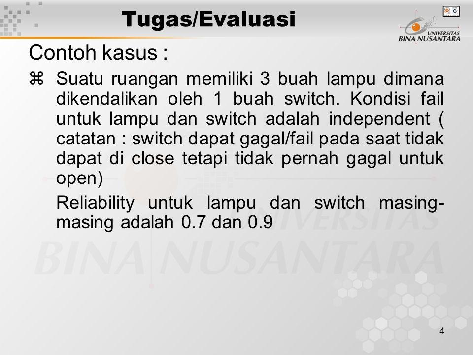 4 Tugas/Evaluasi Contoh kasus : zSuatu ruangan memiliki 3 buah lampu dimana dikendalikan oleh 1 buah switch.