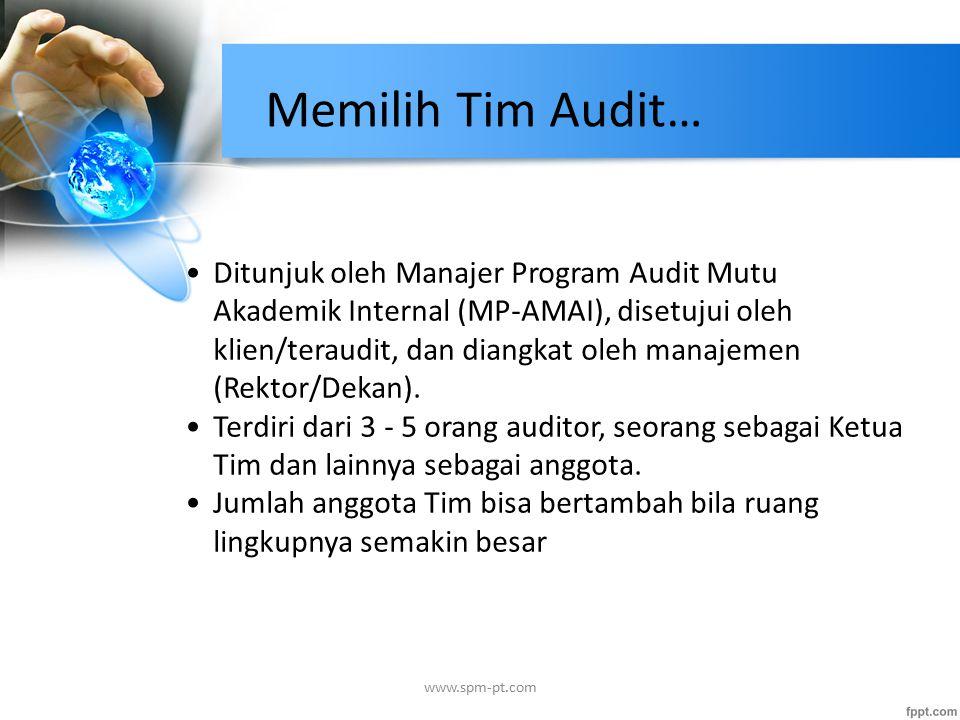 Ditunjuk oleh Manajer Program Audit Mutu Akademik Internal (MP-AMAI), disetujui oleh klien/teraudit, dan diangkat oleh manajemen (Rektor/Dekan).
