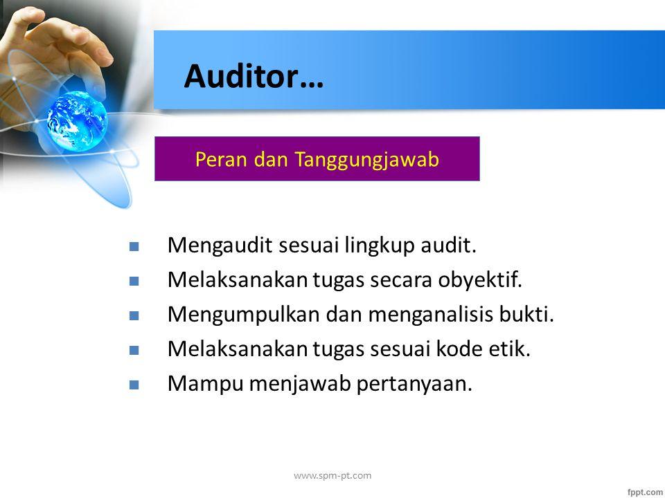 Peran dan Tanggungjawab Mengaudit sesuai lingkup audit.