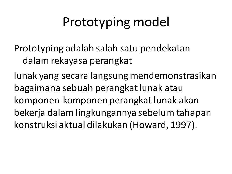 Prototyping model Prototyping adalah salah satu pendekatan dalam rekayasa perangkat lunak yang secara langsung mendemonstrasikan bagaimana sebuah perangkat lunak atau komponen-komponen perangkat lunak akan bekerja dalam lingkungannya sebelum tahapan konstruksi aktual dilakukan (Howard, 1997).