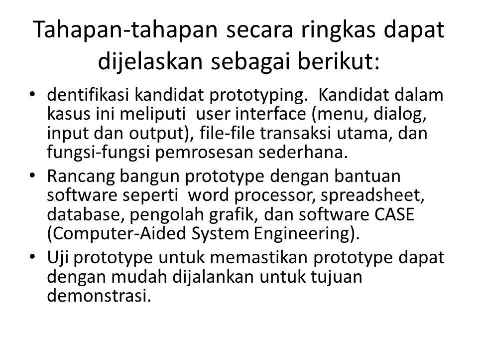 Tahapan-tahapan secara ringkas dapat dijelaskan sebagai berikut: dentifikasi kandidat prototyping. Kandidat dalam kasus ini meliputi user interface (m