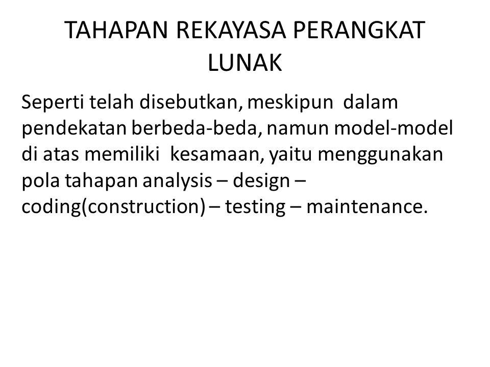TAHAPAN REKAYASA PERANGKAT LUNAK Seperti telah disebutkan, meskipun dalam pendekatan berbeda-beda, namun model-model di atas memiliki kesamaan, yaitu menggunakan pola tahapan analysis – design – coding(construction) – testing – maintenance.