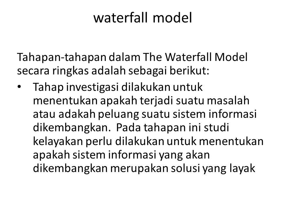 waterfall model Tahapan-tahapan dalam The Waterfall Model secara ringkas adalah sebagai berikut: Tahap investigasi dilakukan untuk menentukan apakah terjadi suatu masalah atau adakah peluang suatu sistem informasi dikembangkan.