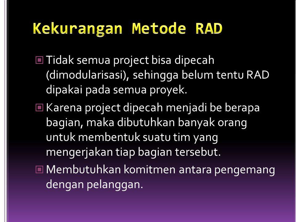 Tidak semua project bisa dipecah (dimodularisasi), sehingga belum tentu RAD dipakai pada semua proyek.