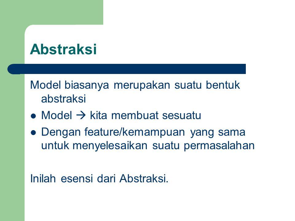 Abstraksi Model biasanya merupakan suatu bentuk abstraksi Model  kita membuat sesuatu Dengan feature/kemampuan yang sama untuk menyelesaikan suatu pe