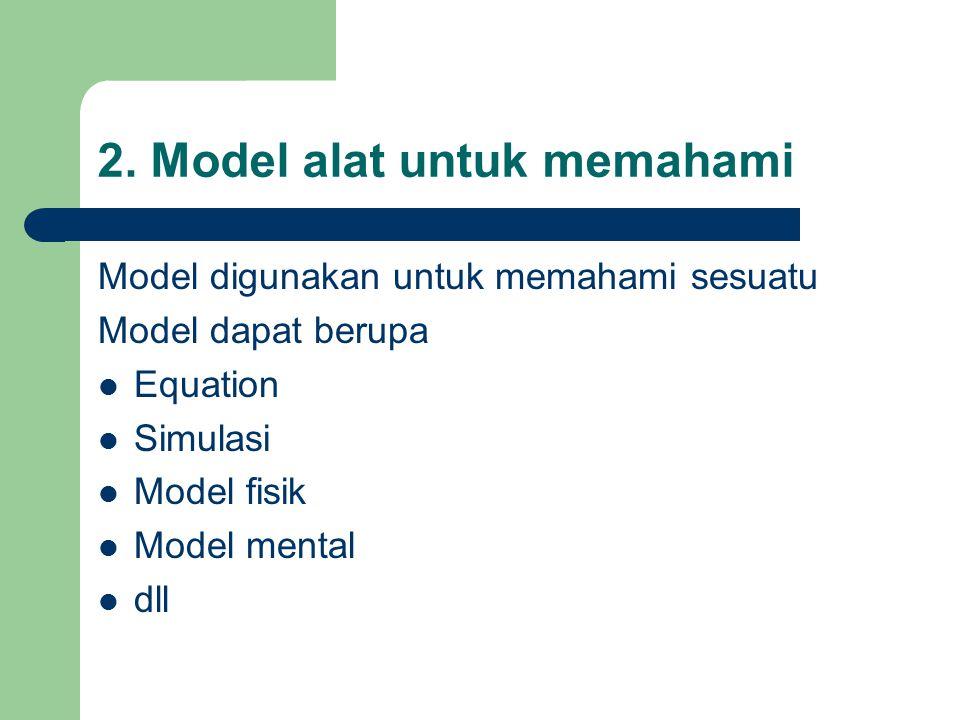 2. Model alat untuk memahami Model digunakan untuk memahami sesuatu Model dapat berupa Equation Simulasi Model fisik Model mental dll