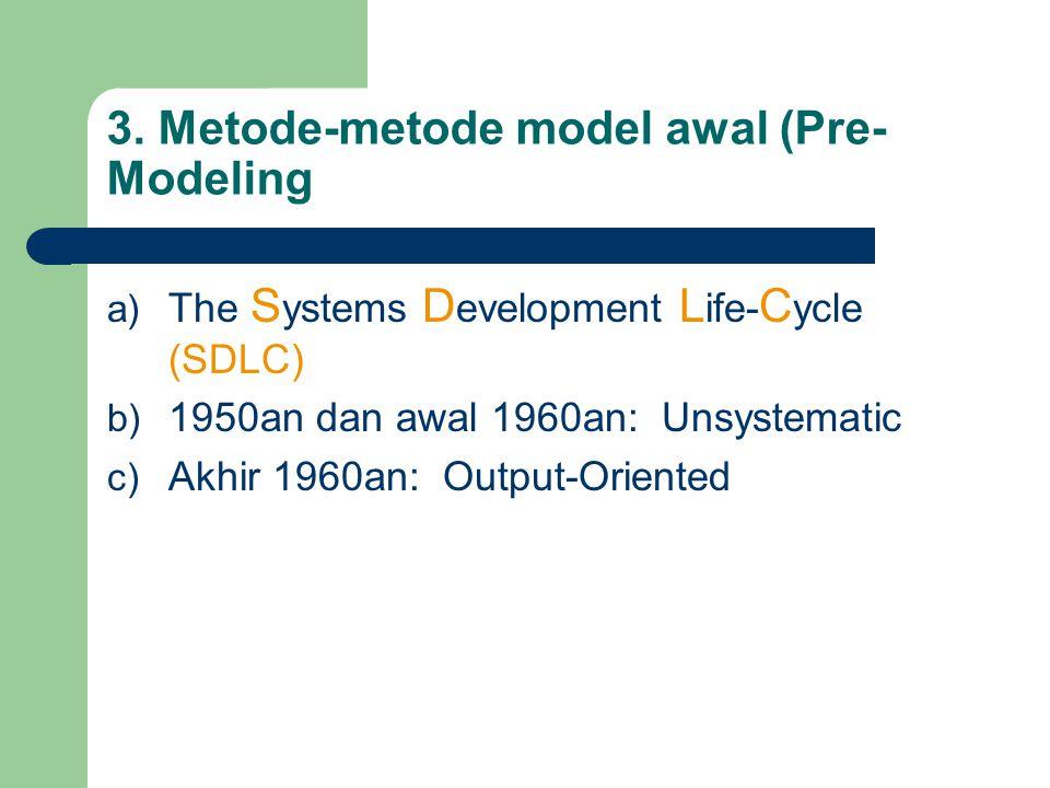 3. Metode-metode model awal (Pre- Modeling a) The S ystems D evelopment L ife- C ycle (SDLC) b) 1950an dan awal 1960an: Unsystematic c) Akhir 1960an: