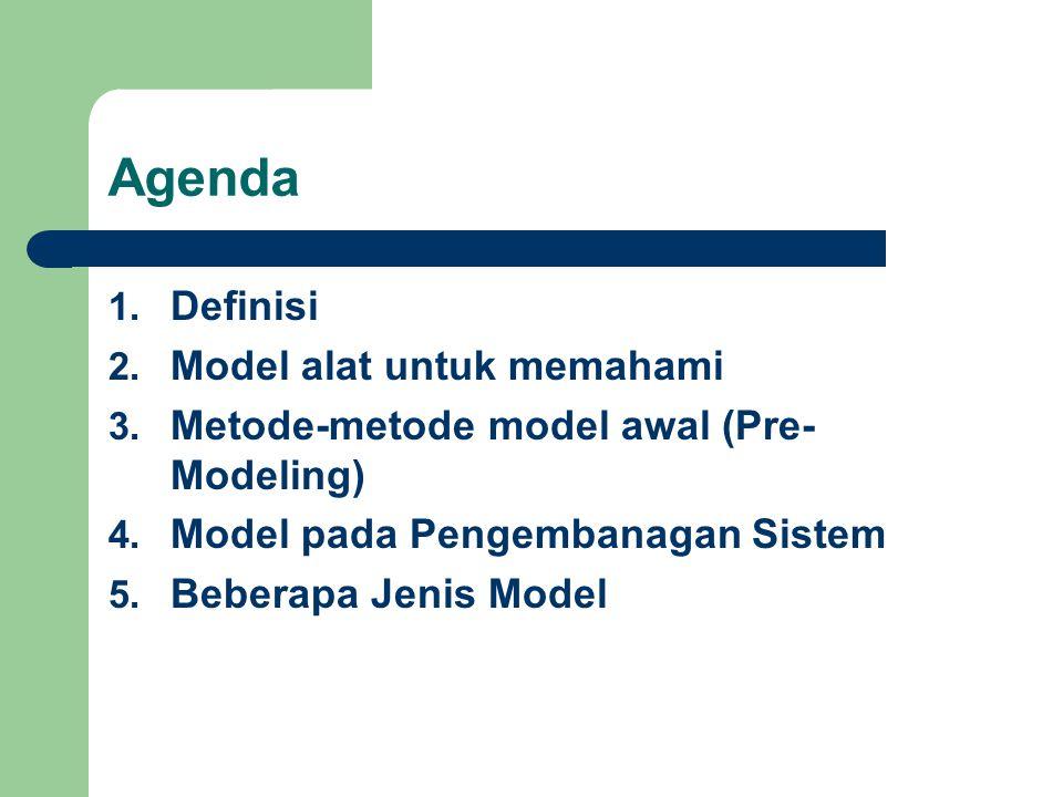 Agenda 1. Definisi 2. Model alat untuk memahami 3. Metode-metode model awal (Pre- Modeling) 4. Model pada Pengembanagan Sistem 5. Beberapa Jenis Model