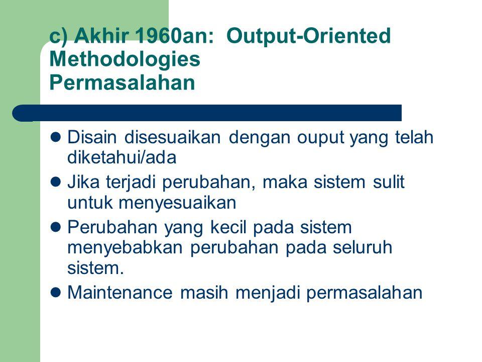 c) Akhir 1960an: Output-Oriented Methodologies Permasalahan Disain disesuaikan dengan ouput yang telah diketahui/ada Jika terjadi perubahan, maka sist