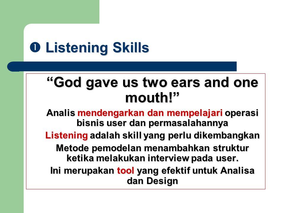 """Listening Skills  Listening Skills """"God gave us two ears and one mouth!"""" """"God gave us two ears and one mouth!"""" Analis mendengarkan dan mempelajari op"""