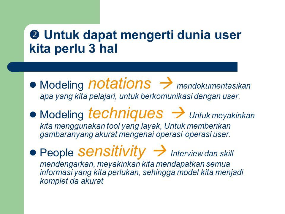  Untuk dapat mengerti dunia user kita perlu 3 hal Modeling notations  mendokumentasikan apa yang kita pelajari, untuk berkomunikasi dengan user. Mod