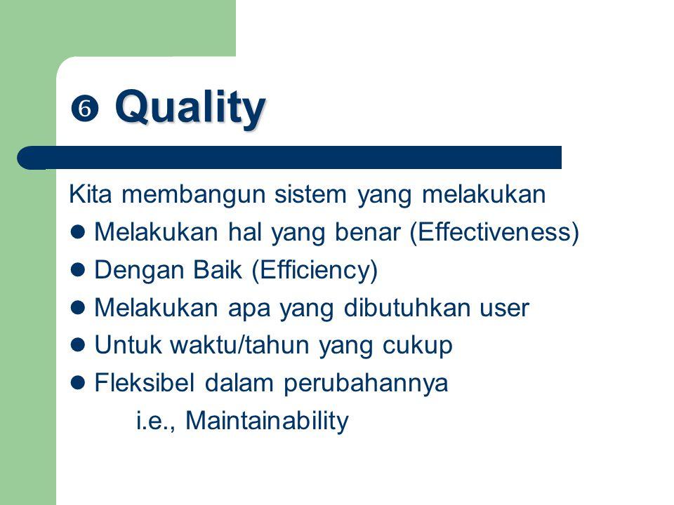 Quality  Quality Kita membangun sistem yang melakukan Melakukan hal yang benar (Effectiveness) Dengan Baik (Efficiency) Melakukan apa yang dibutuhkan