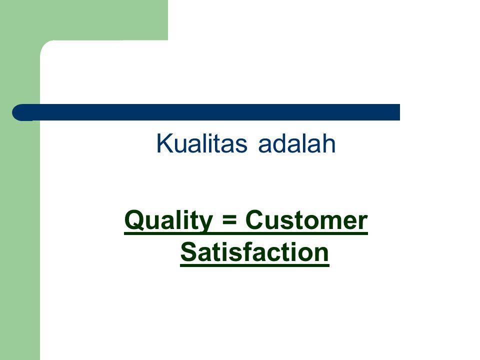 Kualitas adalah Quality = Customer Satisfaction