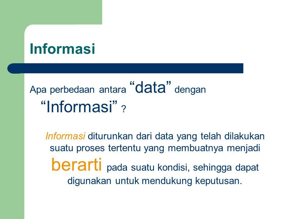 """Informasi Apa perbedaan antara """"data"""" dengan """"Informasi"""" ? Informasi diturunkan dari data yang telah dilakukan suatu proses tertentu yang membuatnya m"""