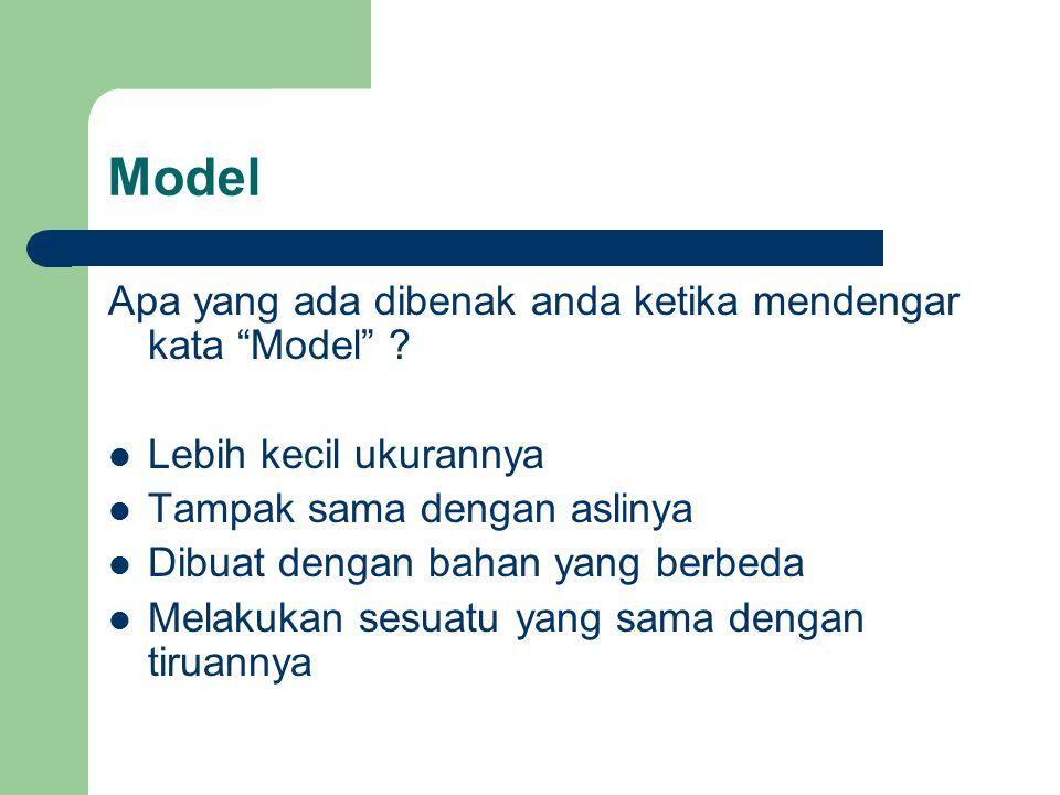 """Model Apa yang ada dibenak anda ketika mendengar kata """"Model"""" ? Lebih kecil ukurannya Tampak sama dengan aslinya Dibuat dengan bahan yang berbeda Mela"""