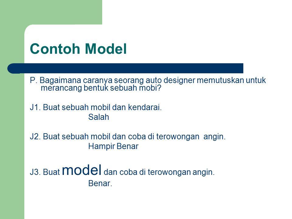 Contoh Model P. Bagaimana caranya seorang auto designer memutuskan untuk merancang bentuk sebuah mobi? J1. Buat sebuah mobil dan kendarai. Salah J2. B