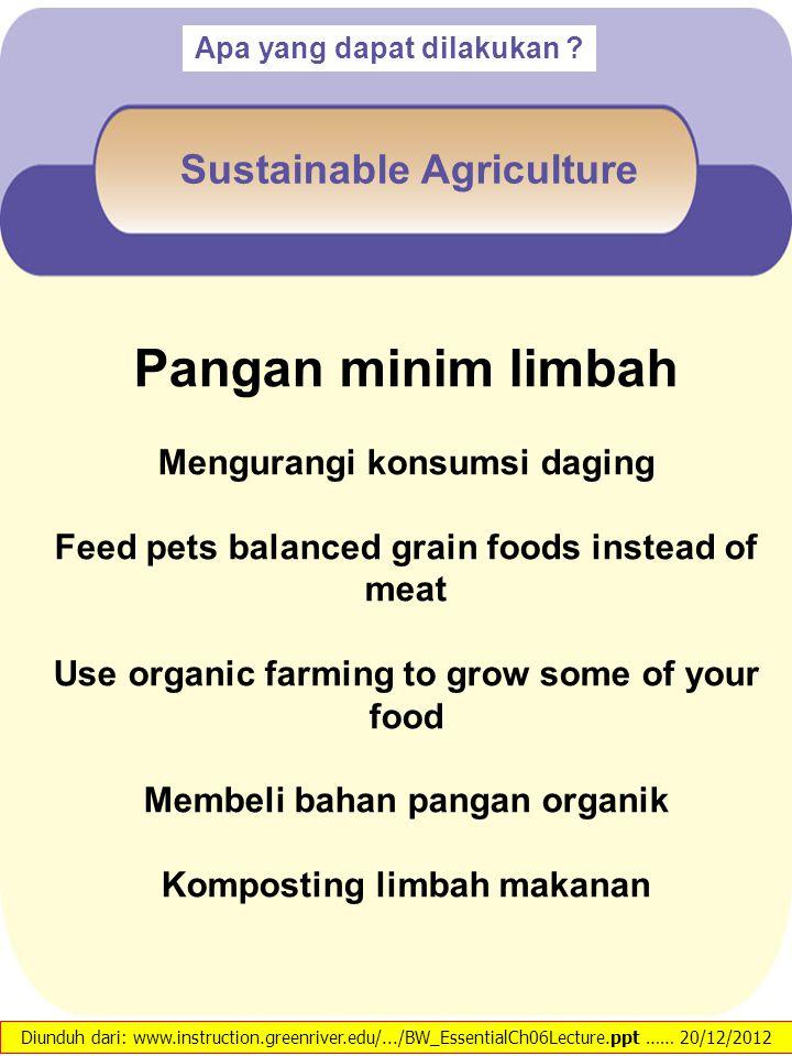 Pangan minim limbah Mengurangi konsumsi daging Feed pets balanced grain foods instead of meat Use organic farming to grow some of your food Membeli ba