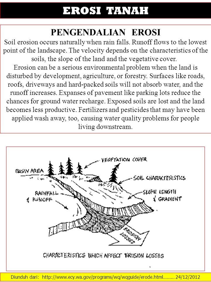 Diunduh dari: http://www.ecy.wa.gov/programs/wq/wqguide/erode.html……… 24/12/2012 EROSI TANAH PENGENDALIAN EROSI Soil erosion occurs naturally when rai