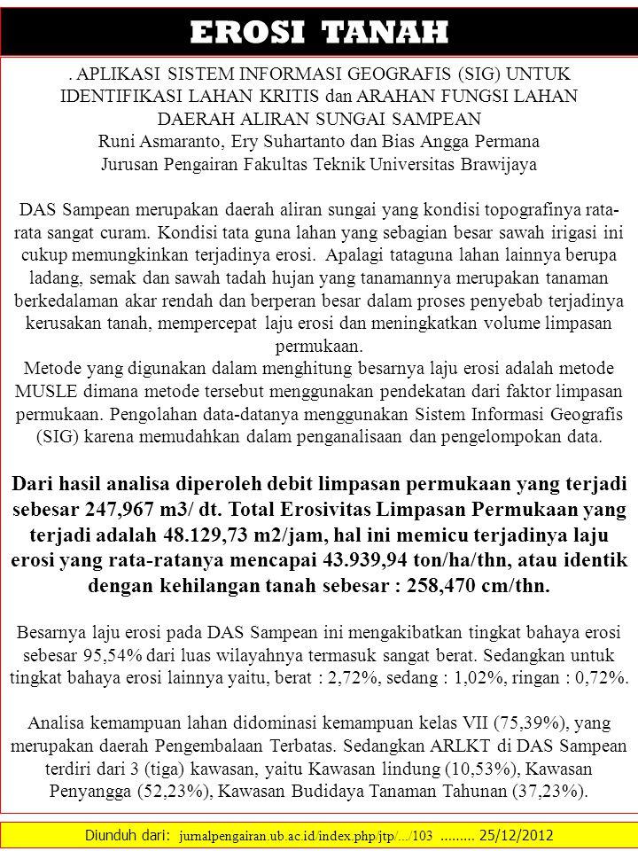 Diunduh dari: jurnalpengairan.ub.ac.id/index.php/jtp/.../103 ……… 25/12/2012 EROSI TANAH. APLIKASI SISTEM INFORMASI GEOGRAFIS (SIG) UNTUK IDENTIFIKASI