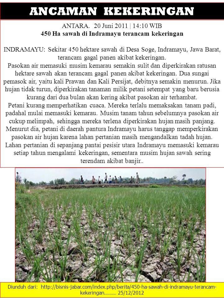Diunduh dari: http://bisnis-jabar.com/index.php/berita/450-ha-sawah-di-indramayu-terancam- kekeringan……… 25/12/2012 ANCAMAN KEKERINGAN ANTARA. 20 Juni