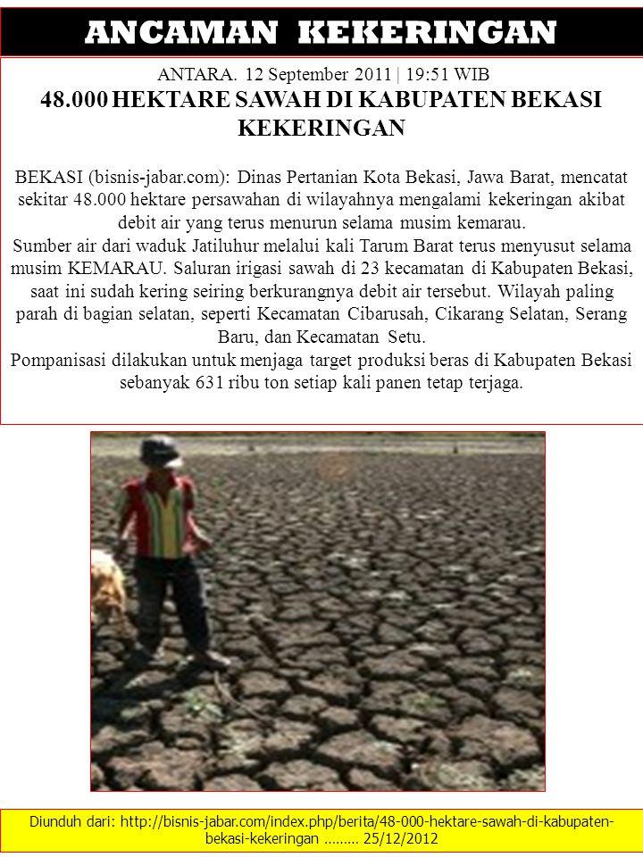 Diunduh dari: http://bisnis-jabar.com/index.php/berita/48-000-hektare-sawah-di-kabupaten- bekasi-kekeringan ……… 25/12/2012 ANCAMAN KEKERINGAN ANTARA.
