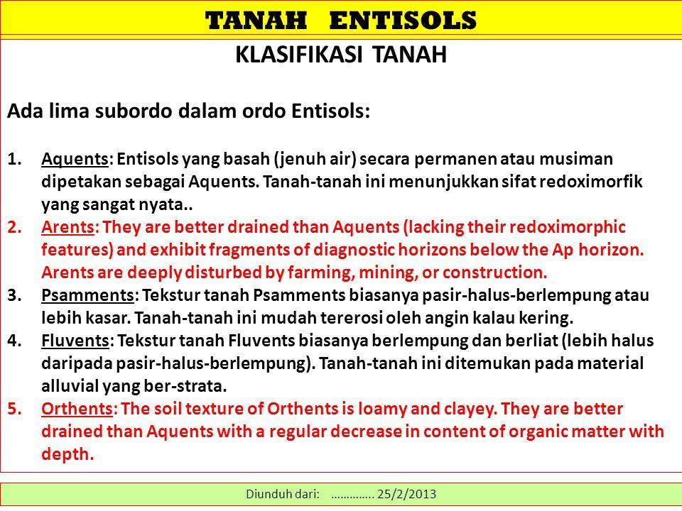 TANAH ENTISOLS KLASIFIKASI TANAH Ada lima subordo dalam ordo Entisols: 1.Aquents: Entisols yang basah (jenuh air) secara permanen atau musiman dipetak