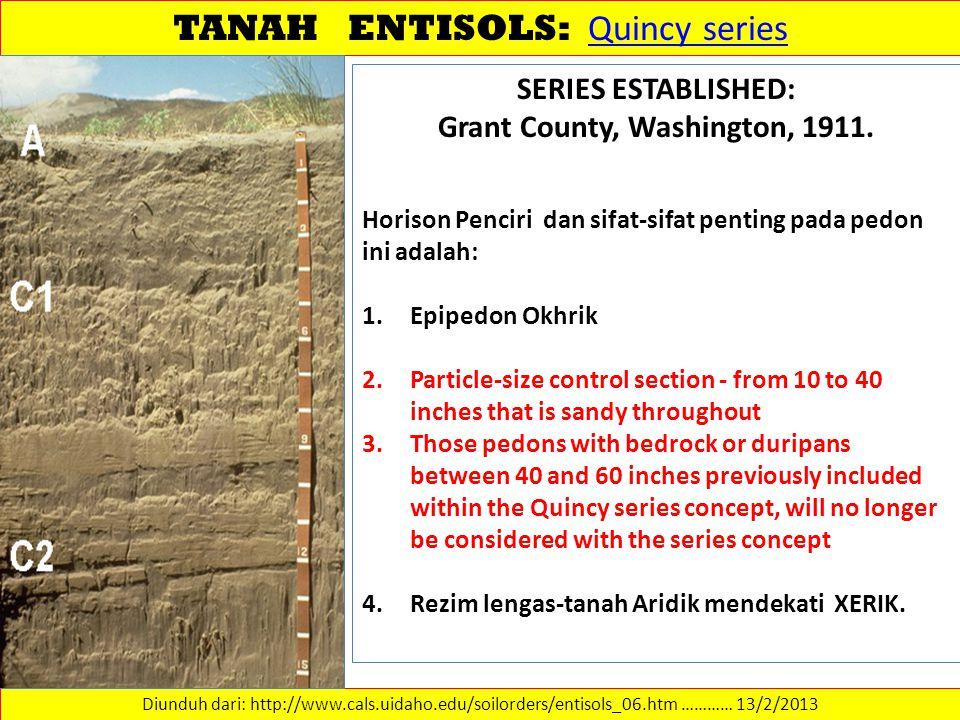 TANAH ENTISOLS: Quincy series Quincy series Diunduh dari: http://www.cals.uidaho.edu/soilorders/entisols_06.htm ………… 13/2/2013 SERIES ESTABLISHED: Gra