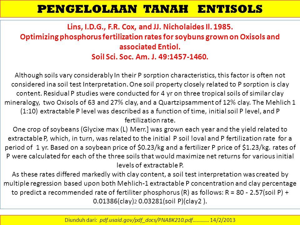 PENGELOLAAN TANAH ENTISOLS Diunduh dari: pdf.usaid.gov/pdf_docs/PNABK210.pdf………… 14/2/2013 Lins, I.D.G., F.R. Cox, and JJ. Nicholaides Il. 1985. Optim