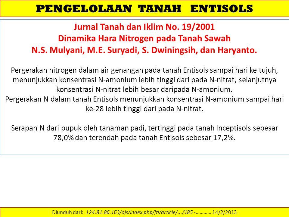 PENGELOLAAN TANAH ENTISOLS Diunduh dari: 124.81.86.163/ojs/index.php/jti/article/.../185 -………… 14/2/2013 Jurnal Tanah dan Iklim No. 19/2001 Dinamika H