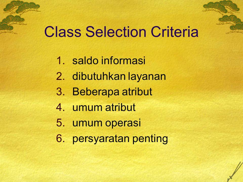 Class Selection Criteria 1.saldo informasi 2.dibutuhkan layanan 3.Beberapa atribut 4.umum atribut 5.umum operasi 6.persyaratan penting