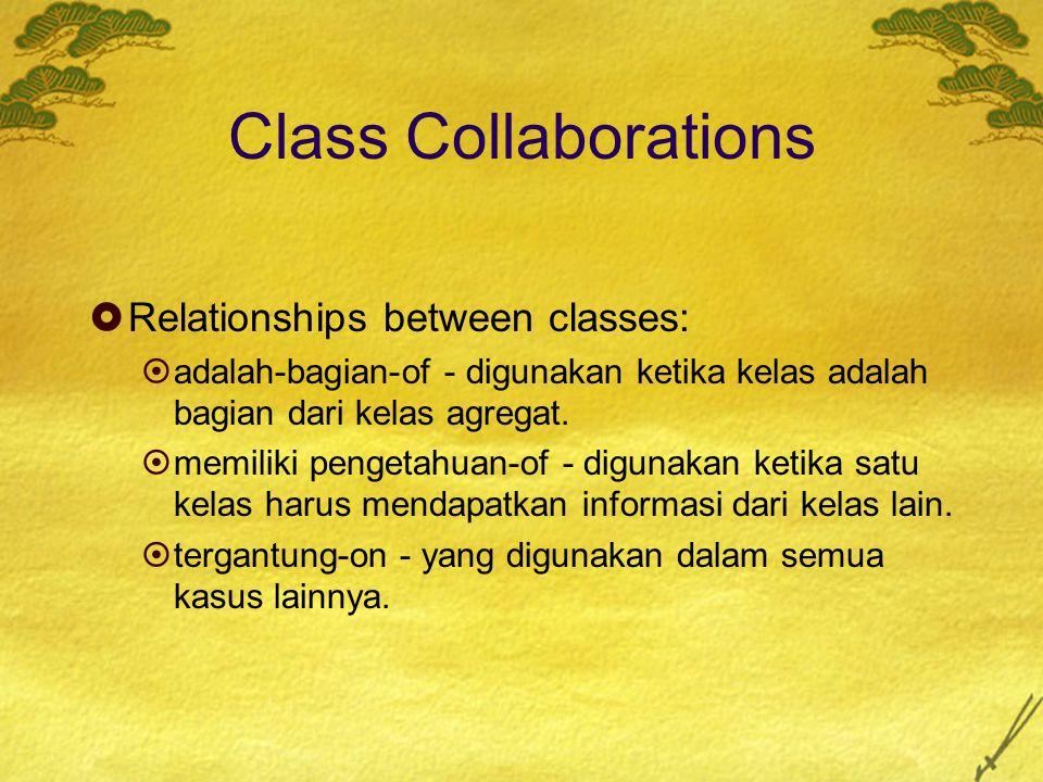 Class Collaborations  Relationships between classes:  adalah-bagian-of - digunakan ketika kelas adalah bagian dari kelas agregat.  memiliki pengeta