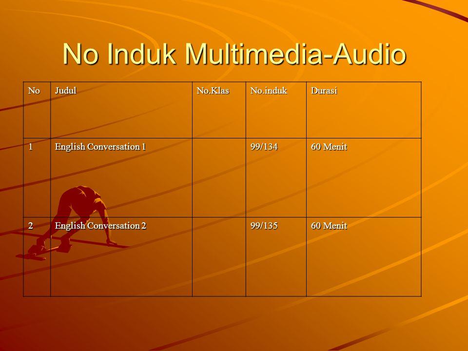 No Induk Multimedia-Audio NoJudulNo.KlasNo.indukDurasi 1 English Conversation 1 99/134 60 Menit 2 English Conversation 2 99/135 60 Menit