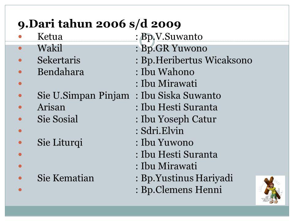 9.Dari tahun 2006 s/d 2009 Ketua: Bp.V.Suwanto Wakil: Bp.GR Yuwono Sekertaris: Bp.Heribertus Wicaksono Bendahara: Ibu Wahono : Ibu Mirawati Sie U.Simp