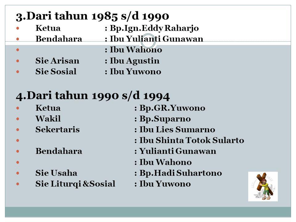 3.Dari tahun 1985 s/d 1990 Ketua: Bp.Ign.Eddy Raharjo Bendahara: Ibu Yulianti Gunawan : Ibu Wahono Sie Arisan: Ibu Agustin Sie Sosial: Ibu Yuwono 4.Da
