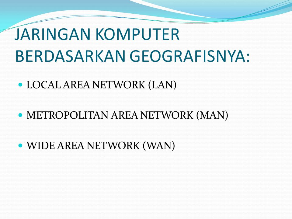 JARINGAN KOMPUTER BERDASARKAN GEOGRAFISNYA: LOCAL AREA NETWORK (LAN) METROPOLITAN AREA NETWORK (MAN) WIDE AREA NETWORK (WAN)