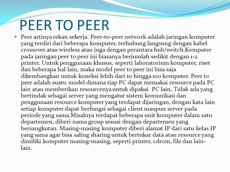 PEER TO PEER Peer artinya rekan sekerja. Peer-to-peer network adalah jaringan komputer yang terdiri dari beberapa komputer, terhubung langsung dengan