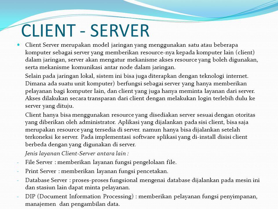 CLIENT - SERVER Client Server merupakan model jaringan yang menggunakan satu atau beberapa komputer sebagai server yang memberikan resource-nya kepada