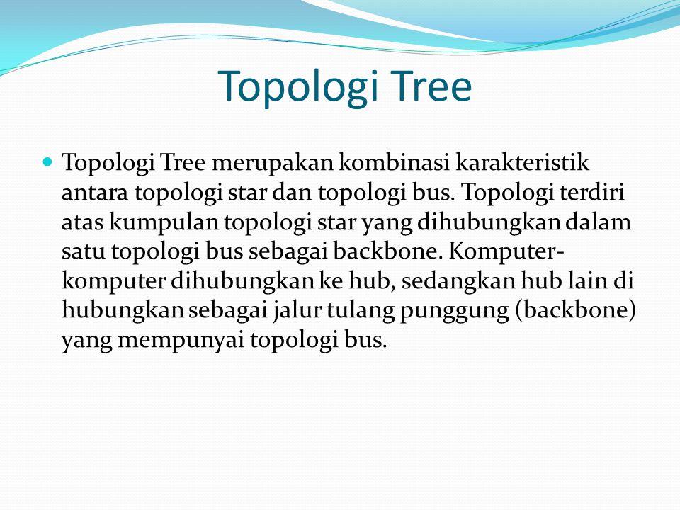 Topologi Tree Topologi Tree merupakan kombinasi karakteristik antara topologi star dan topologi bus. Topologi terdiri atas kumpulan topologi star yang