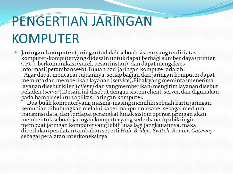 PENGERTIAN JARINGAN KOMPUTER Jaringan komputer (jaringan) adalah sebuah sistem yang terdiri atas komputer-komputer yang didesain untuk dapat berbagi s