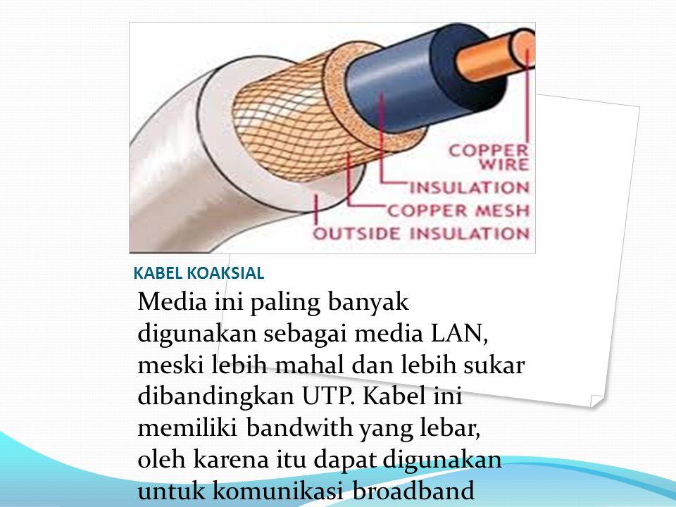 KABEL KOAKSIAL Media ini paling banyak digunakan sebagai media LAN, meski lebih mahal dan lebih sukar dibandingkan UTP. Kabel ini memiliki bandwith ya