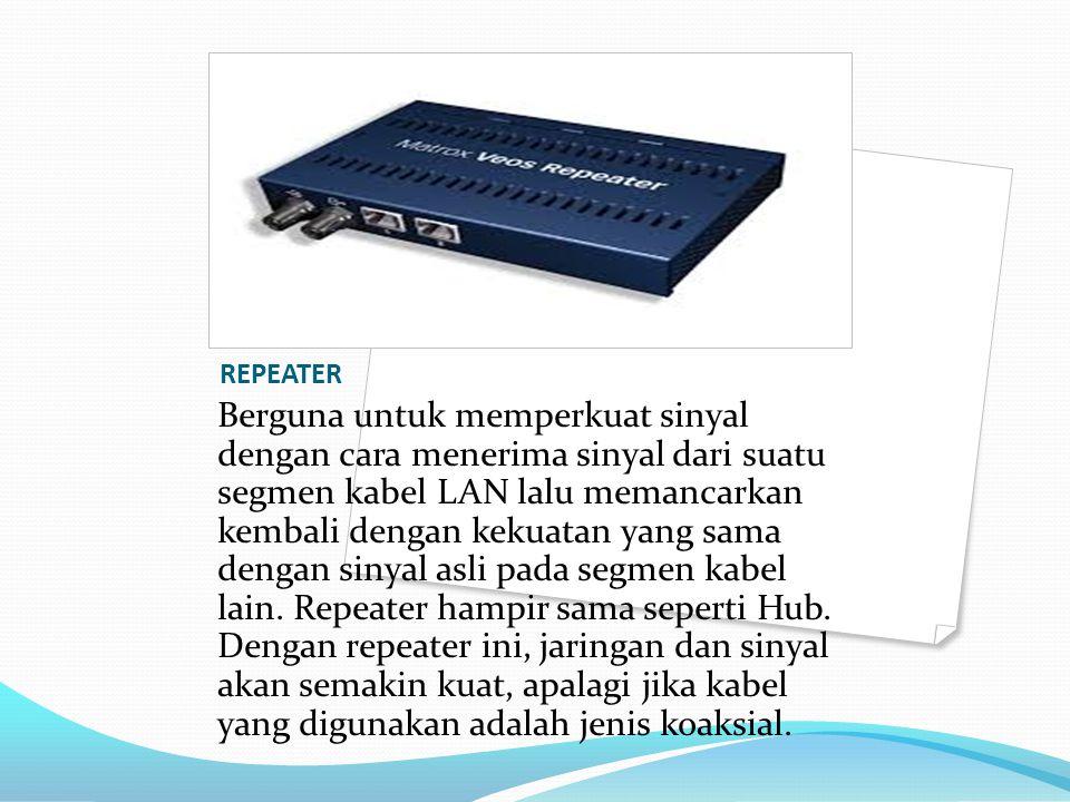 REPEATER Berguna untuk memperkuat sinyal dengan cara menerima sinyal dari suatu segmen kabel LAN lalu memancarkan kembali dengan kekuatan yang sama de