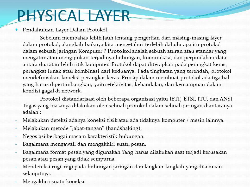 PHYSICAL LAYER Pendahuluan Layer Dalam Protokol Sebelum membahas lebih jauh tentang pengertian dari masing-masing layer dalam protokol, alangkah baikn