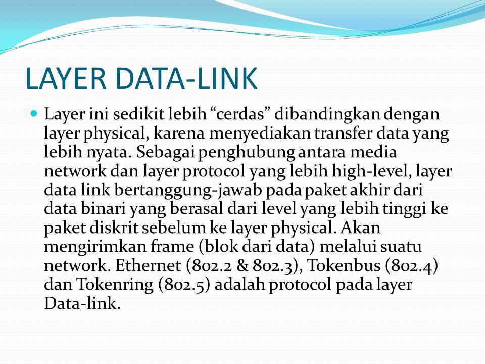 """LAYER DATA-LINK Layer ini sedikit lebih """"cerdas"""" dibandingkan dengan layer physical, karena menyediakan transfer data yang lebih nyata. Sebagai penghu"""