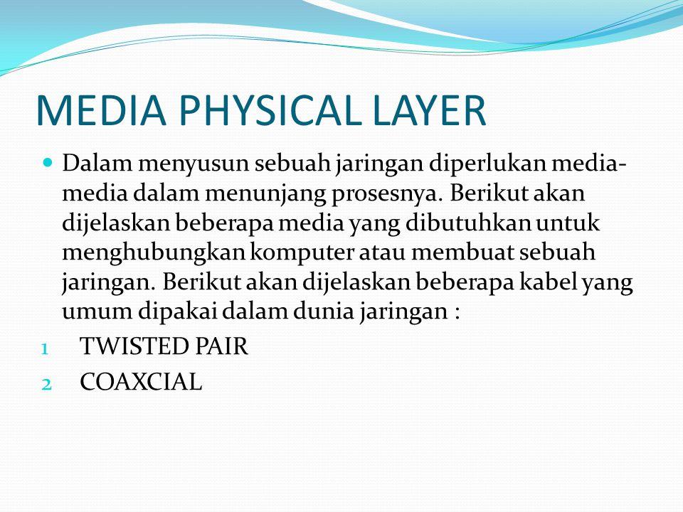 MEDIA PHYSICAL LAYER Dalam menyusun sebuah jaringan diperlukan media- media dalam menunjang prosesnya. Berikut akan dijelaskan beberapa media yang dib
